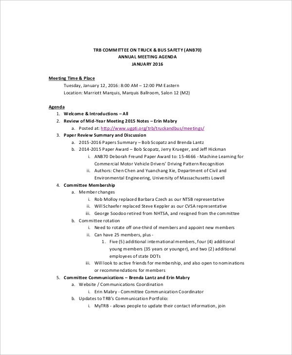 data safety meeting agenda example