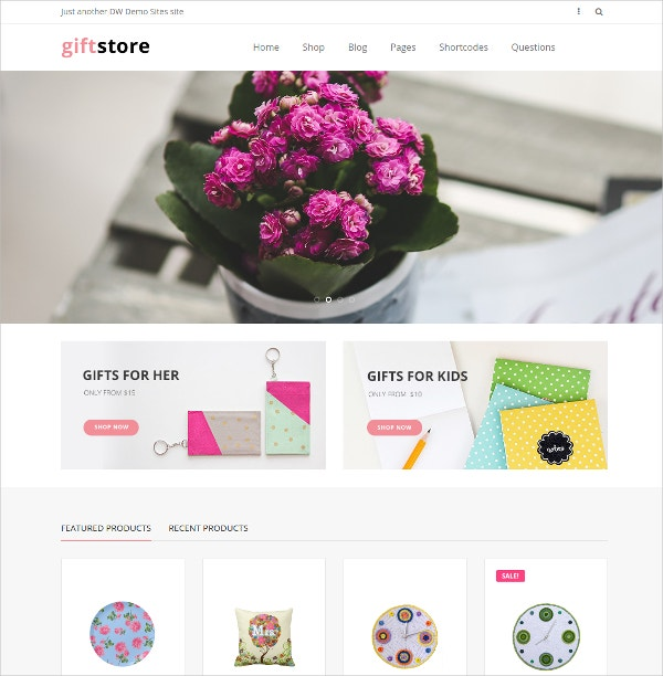 Gift Store WordPress eCommerce Website Theme $29
