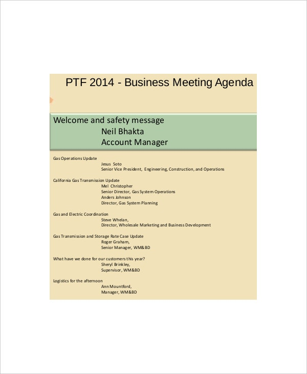 example business safety meeting agenda