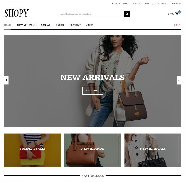 Elegant Hand Bags eCommerce WordPress Website Theme $39