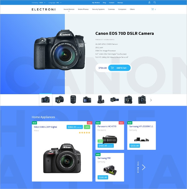 Electronic eCommerce PrestaShop Website Theme $139