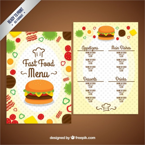 Fast Food Menu Brochure Free Vector