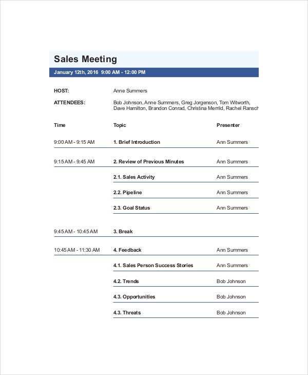 Sales Meeting Agenda Outline  Meeting Outline Template