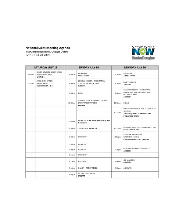 national sales meeting agenda sample