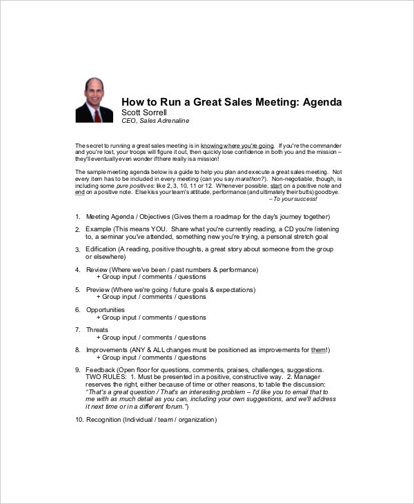 12  sales meeting agenda templates  u2013 free sample  example