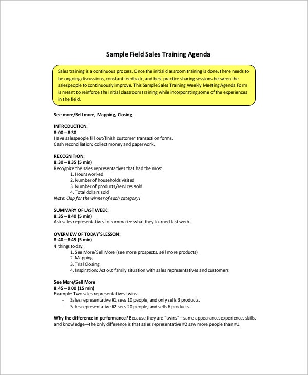 Sales Training Meeting Agenda Sample  Example Of Agenda For A Meeting