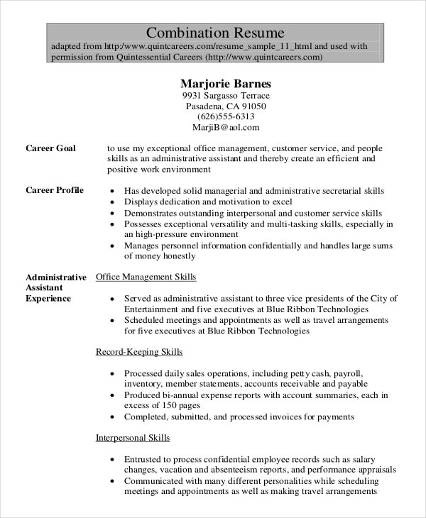 legal administrative assistant combination resume - Sample Combination Resume