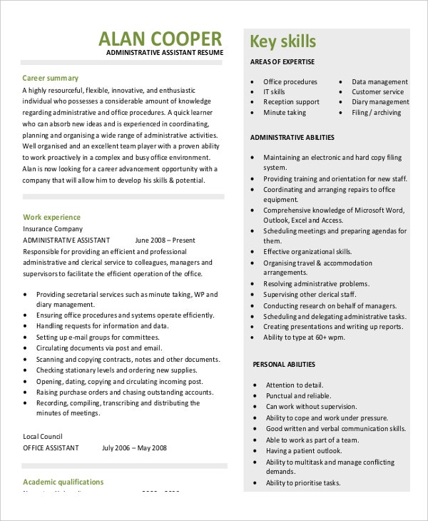 Legal Administrative Istant Resume | 5 Legal Administrative Assistant Resume Templates Pdf Word