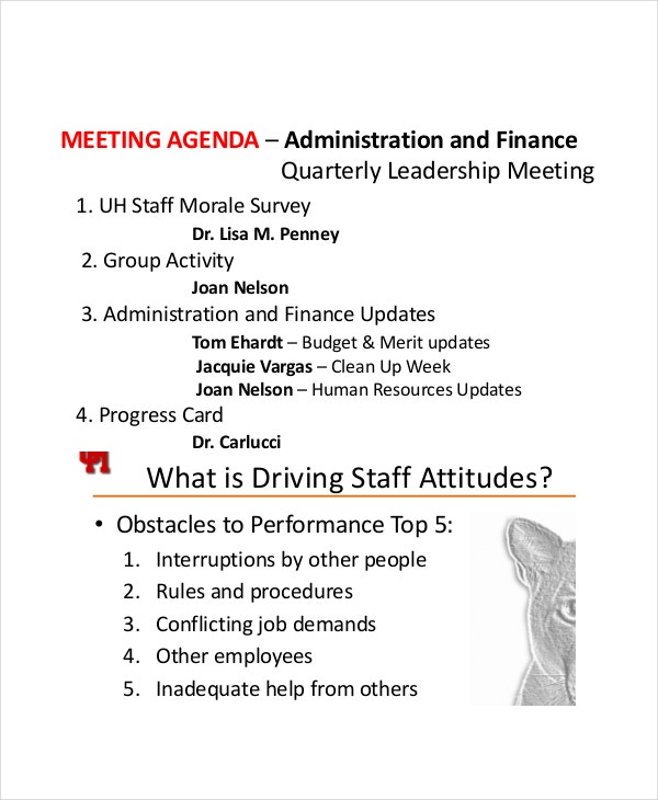 Staff Meeting Agenda Templates  Free Sample Example Format