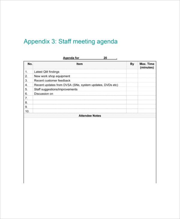 example generic staff meeting agenda template