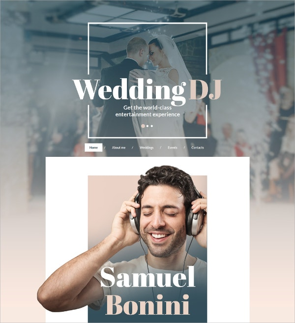 Wedding DJ HTML Website Template $139
