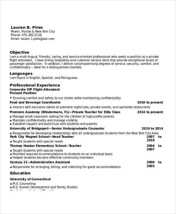 corporate flight attendant resume - Flight Attendant Resume Template