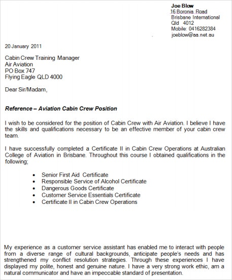 professional flight attendant resume - Cover Letter For Cabin Crew
