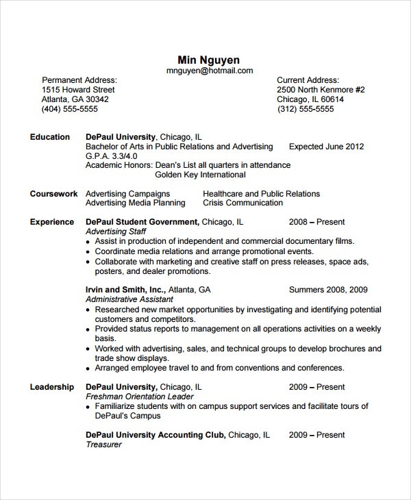 flight attendant sample resume