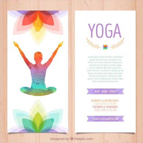 Colorful yoga Brochure Free Vector