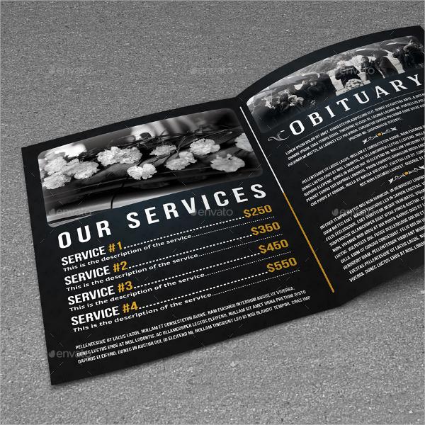 bifold funeral service brochure