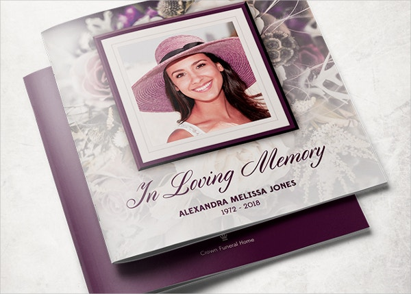 purple rose funeral service program template