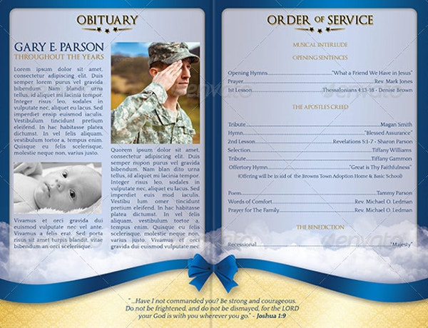 Military Funeral Service Program Brochure