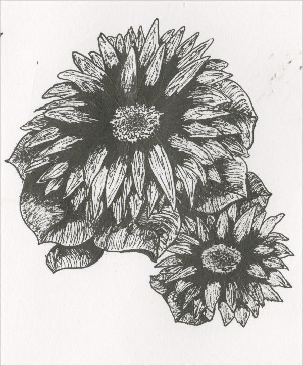 elegant ink flower drawing