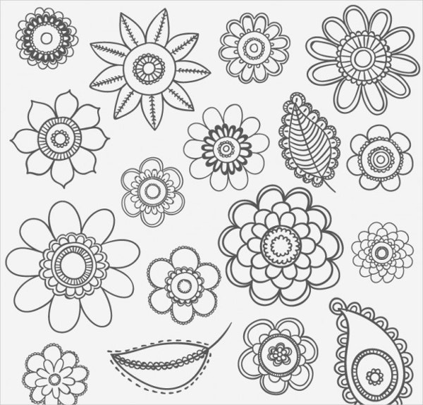 19  flower drawings