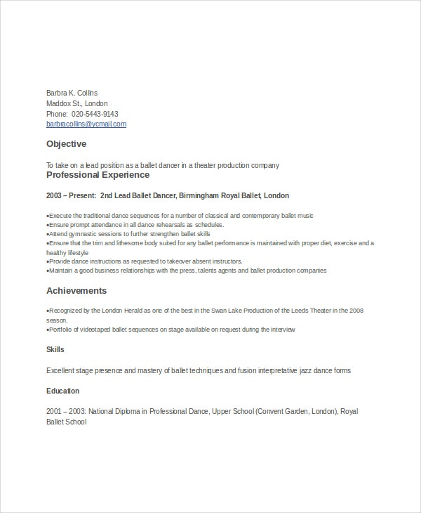 Ballet Dancer Resume  Sample Dance Resume