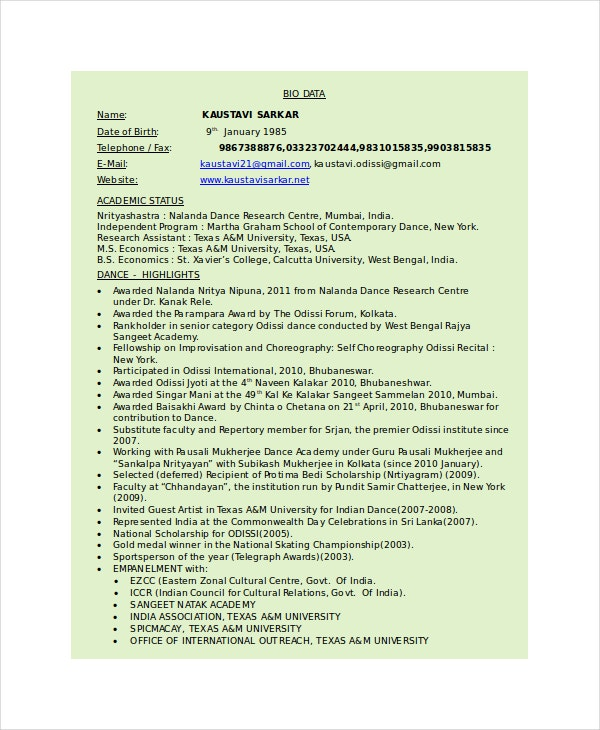 Dancer Resume Template 6 Free Word PDF Documents Download – Dance Resume