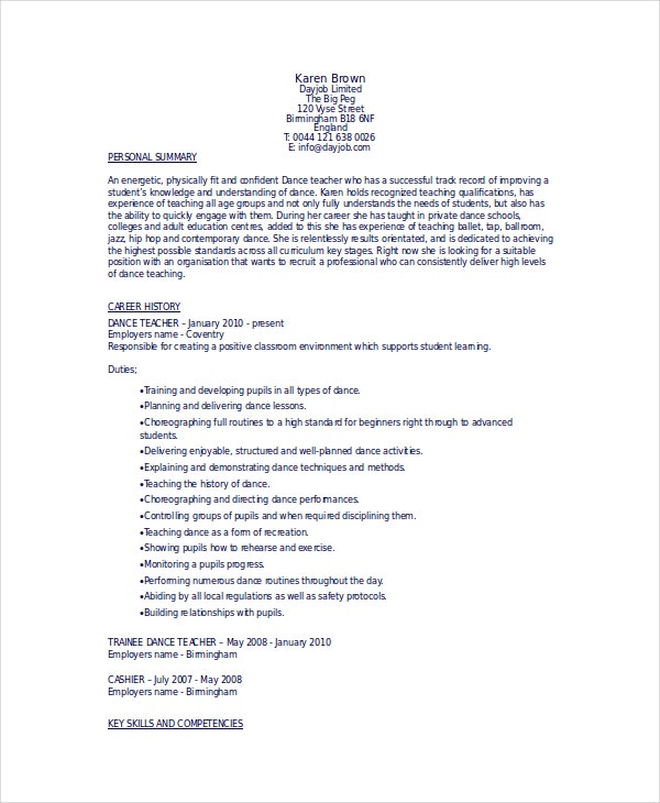 Dance Teacher Resume Dancing Job Description Example Sample Free