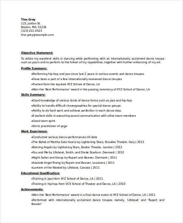 Dancer Resume Template - 6+ Free Word, Pdf Documents Download