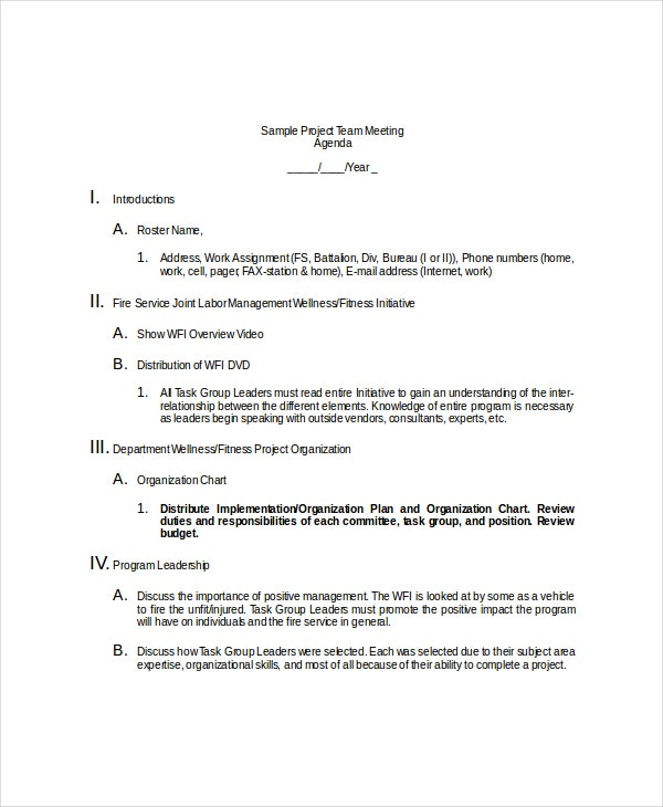 10 Team Meeting Agenda Templates Free Sample Example Format – Team Meeting Agenda Sample