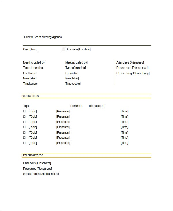 Team Meeting Agenda Templates  Free Sample Example Format