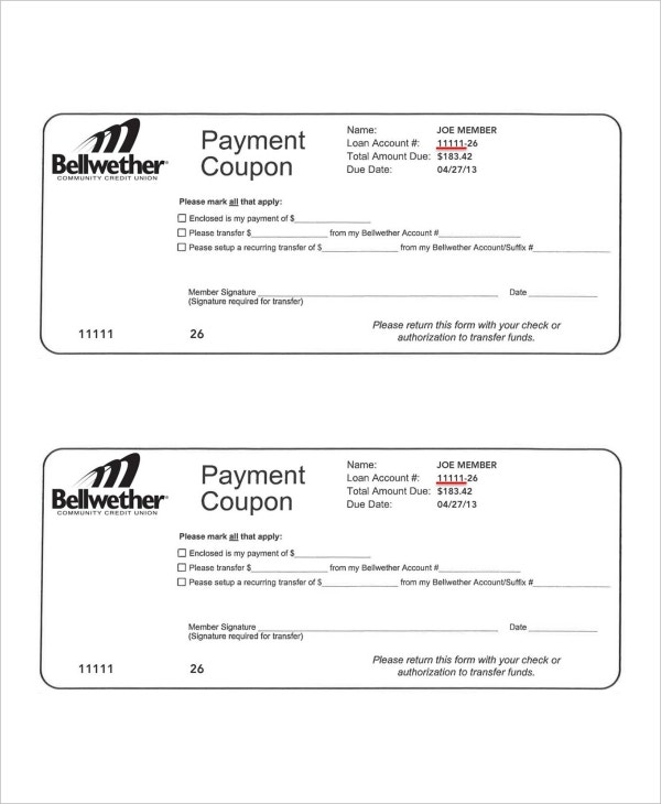 bellwether payment coupon template