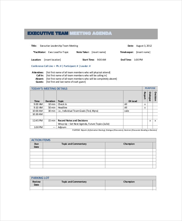 10+ Team Meeting Agenda Templates – Free Sample, Example Format