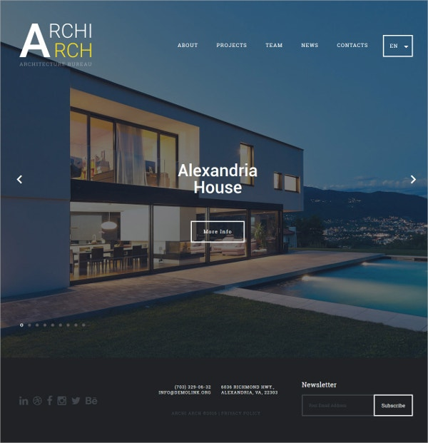 Architecture HTML5 Website Template $75