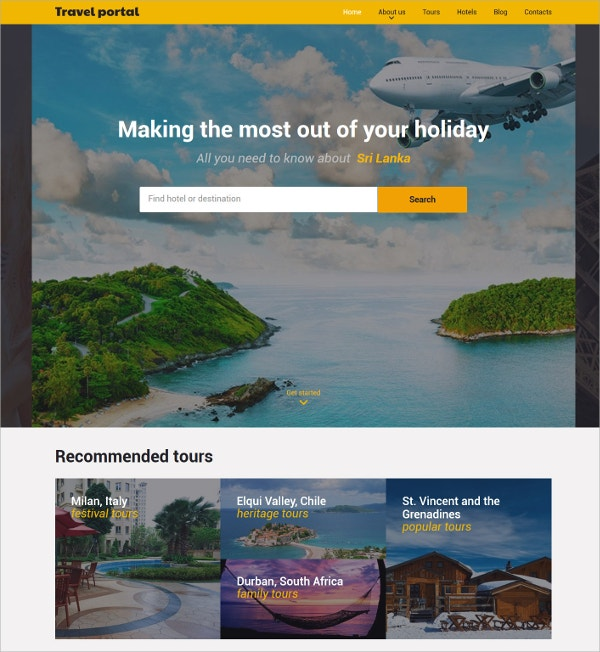 Travel Responsive HTML5 Website Template $75