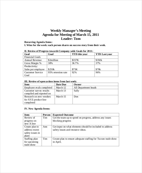Sample Weekly Agenda Weekly Employee Meeting Agenda Sample – Sample Agenda Planner