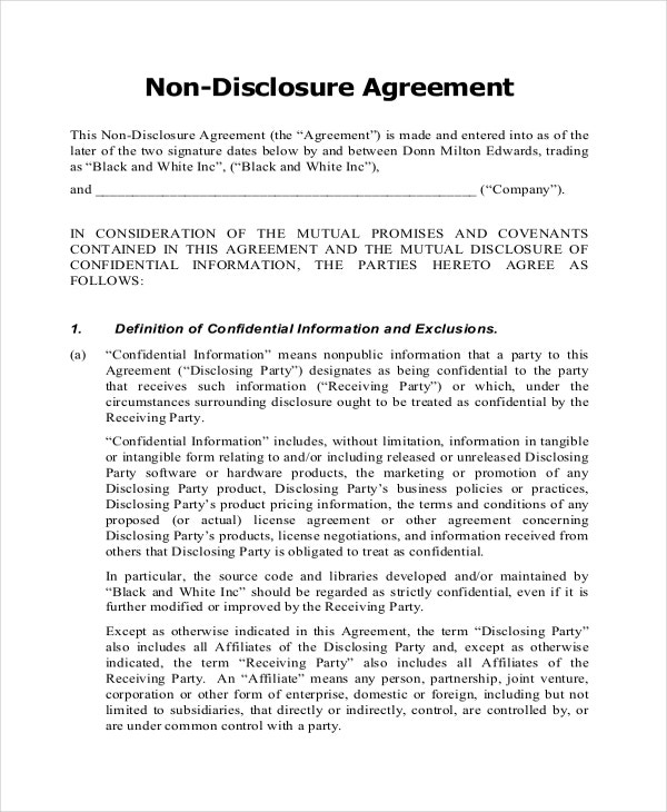 Non Disclosure Agreement Form   Free Word  Documents