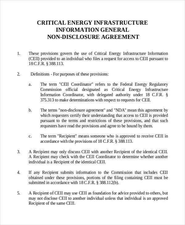Critical Energy Infrastructure General Non-Disclosure Agreement