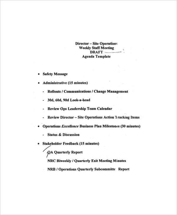 Example Weekly Staff Meeting Draft Agenda  Business Meeting Report Template