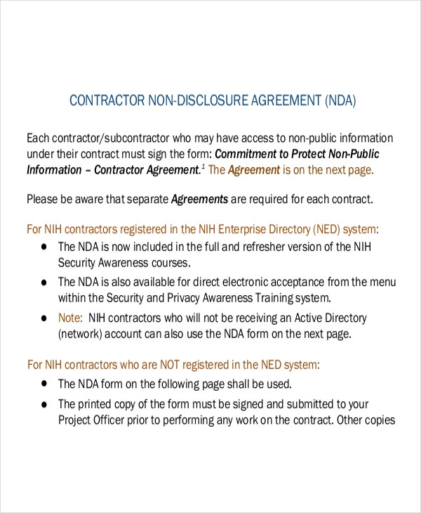 Contractor Non Disclosure Agreement Form PDF Download