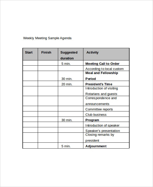 12 Weekly Meeting Agenda Templates Free Sample Example Format – Sample Weekly Agenda