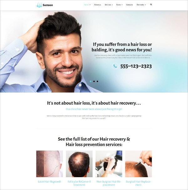 Hair Loss Prevention Services WordPress Theme $75