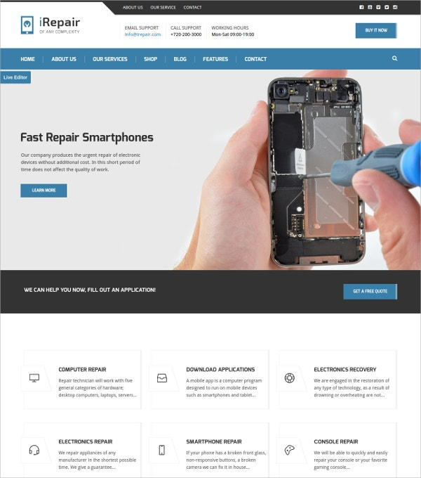 Electronic Repair WordPress Theme $44