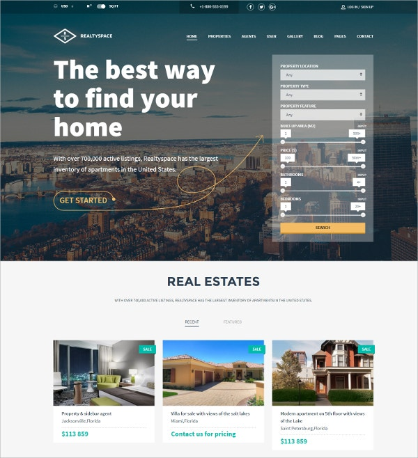 Real Estate Business WordPress Theme $49