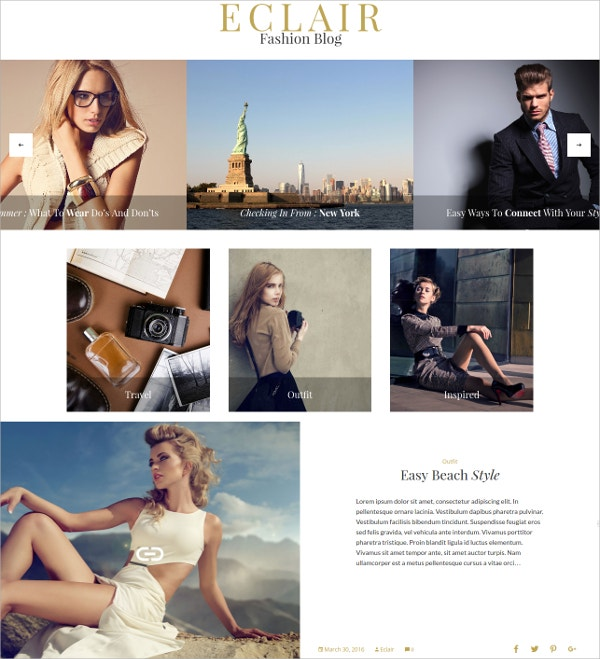 Fashion Blog WordPress Theme $39