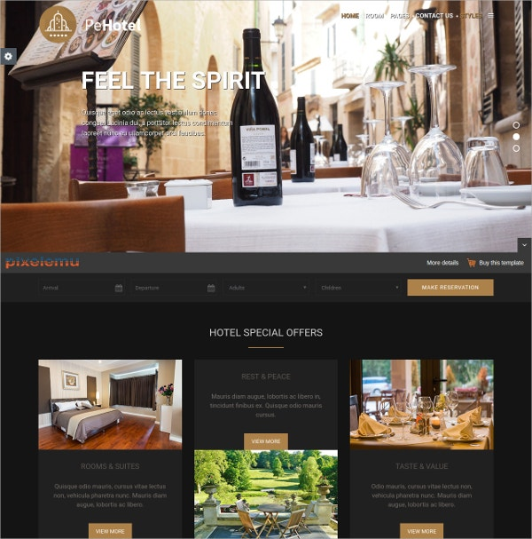 Hotel & Resort WordPress Theme $39