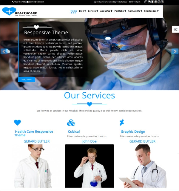 Health Care Premium WordPress Theme $41