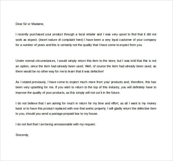 item defect complaint letter template