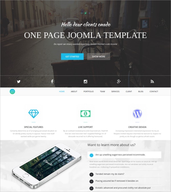 Minimalist One Page Joomla Template $43