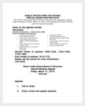 Special Meeting Agenda