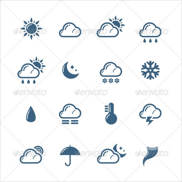Silhouette Weather Icon Set
